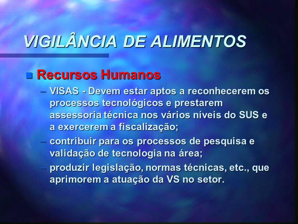 VIGILÂNCIA DE ALIMENTOS n Recursos Humanos –VISAS - Devem estar aptos a reconhecerem os processos tecnológicos e prestarem assessoria técnica nos vári