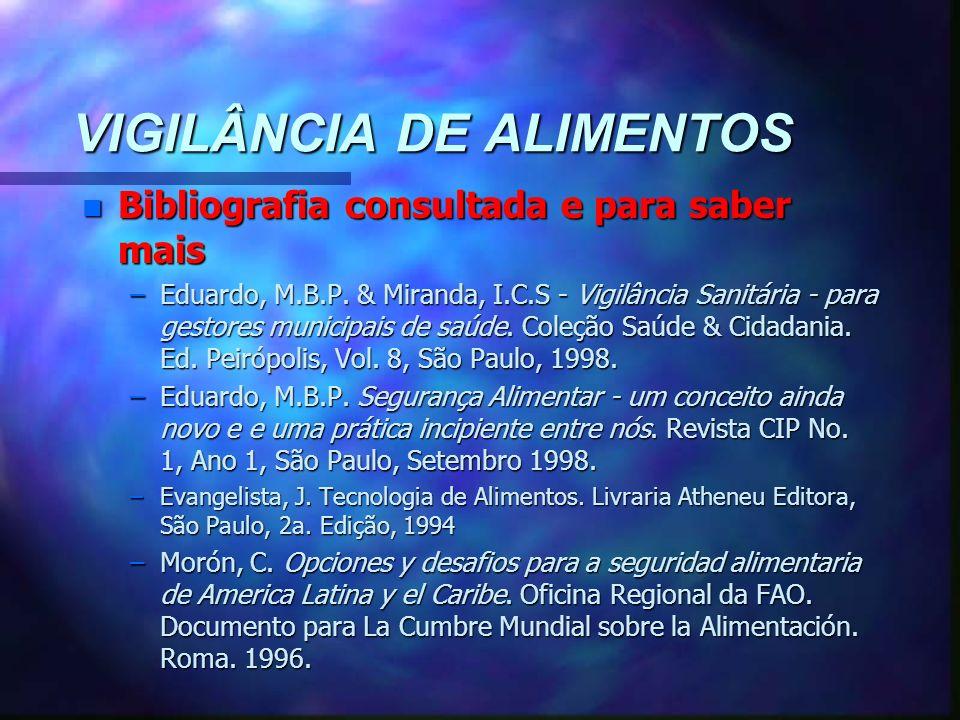 VIGILÂNCIA DE ALIMENTOS n Bibliografia consultada e para saber mais –Eduardo, M.B.P. & Miranda, I.C.S - Vigilância Sanitária - para gestores municipai