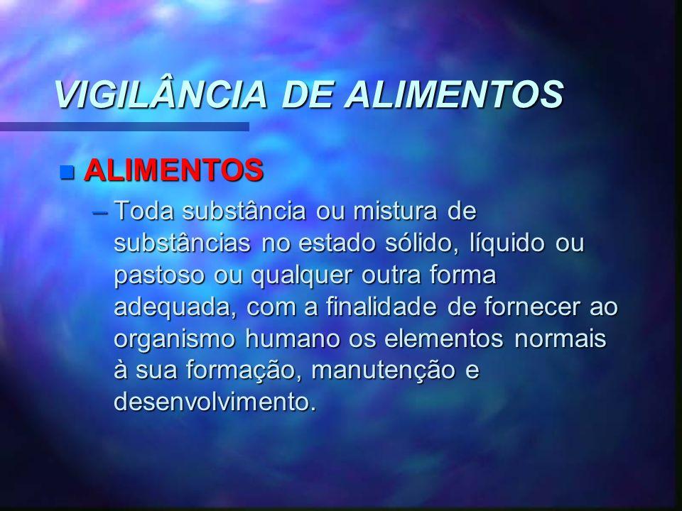 VIGILÂNCIA DE ALIMENTOS n ALIMENTOS –Toda substância ou mistura de substâncias no estado sólido, líquido ou pastoso ou qualquer outra forma adequada,