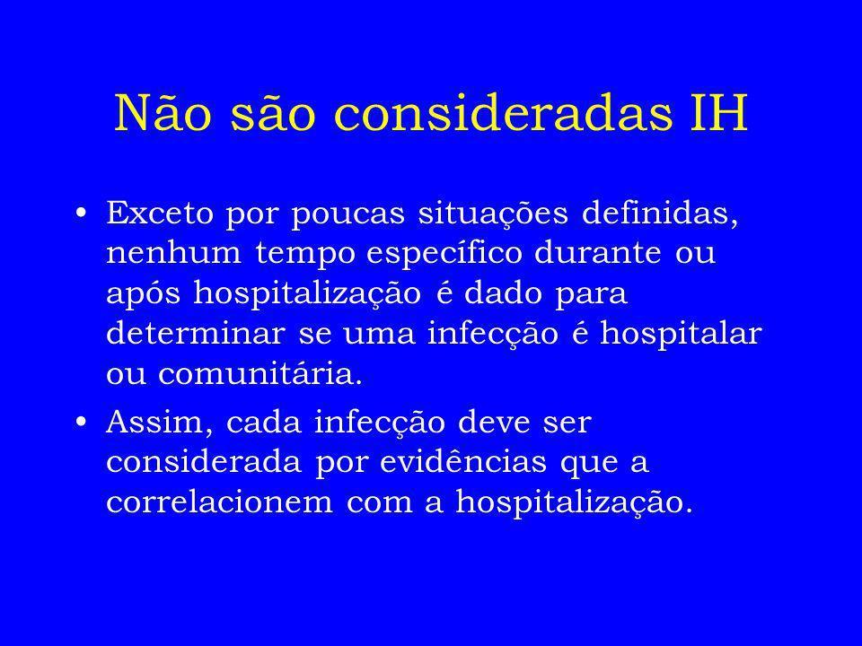 Exceto por poucas situações definidas, nenhum tempo específico durante ou após hospitalização é dado para determinar se uma infecção é hospitalar ou c
