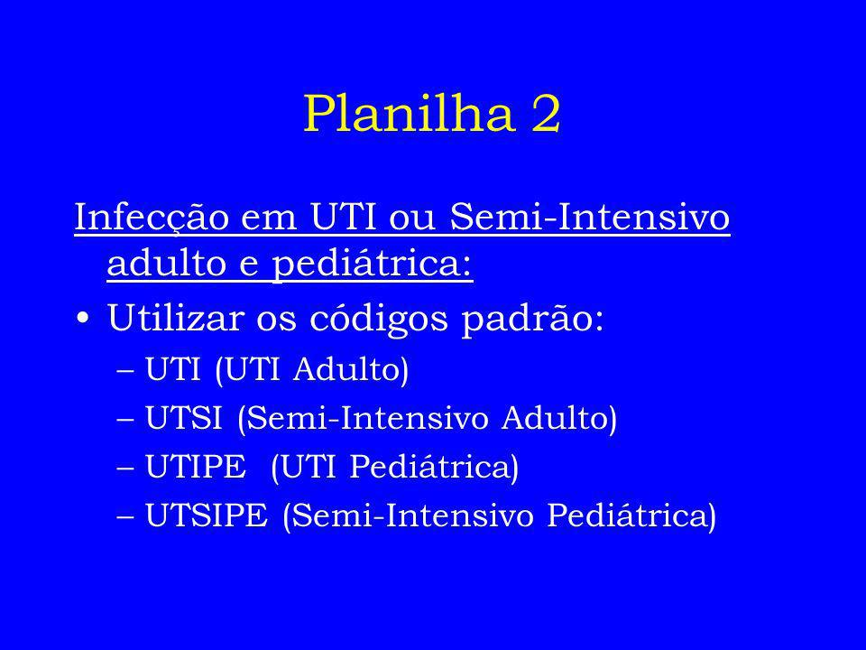 Planilha 2 Infecção em UTI ou Semi-Intensivo adulto e pediátrica: Utilizar os códigos padrão: –UTI (UTI Adulto) –UTSI (Semi-Intensivo Adulto) –UTIPE (