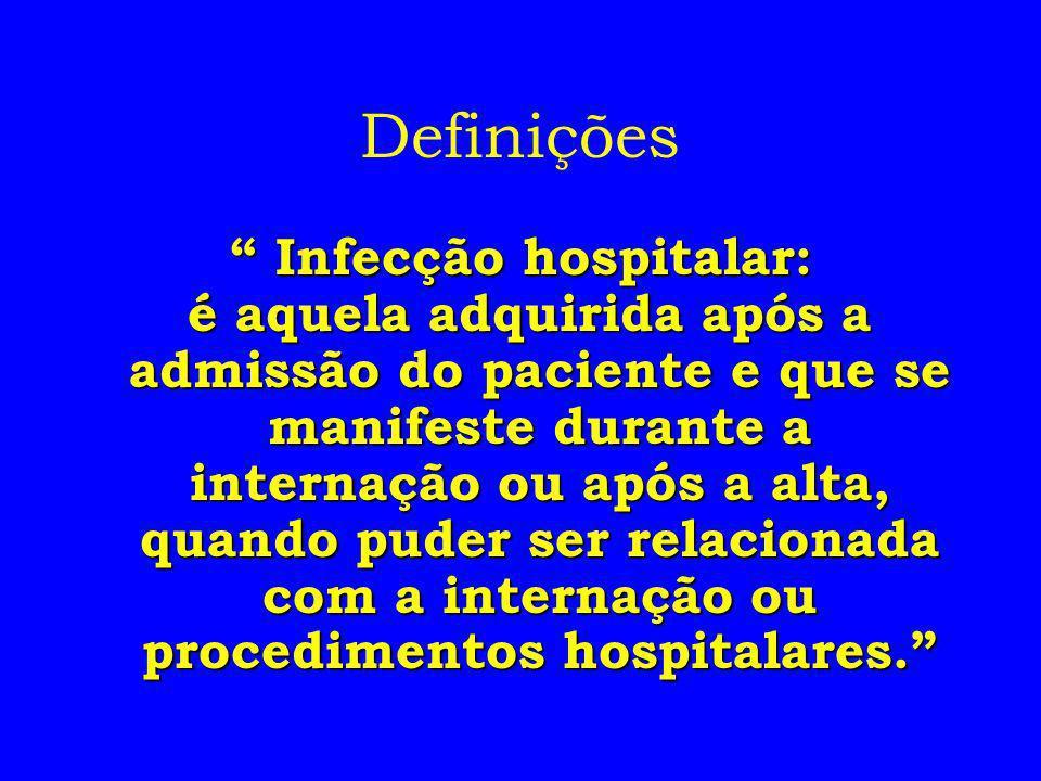 Definições Infecção hospitalar: Infecção hospitalar: é aquela adquirida após a admissão do paciente e que se manifeste durante a internação ou após a