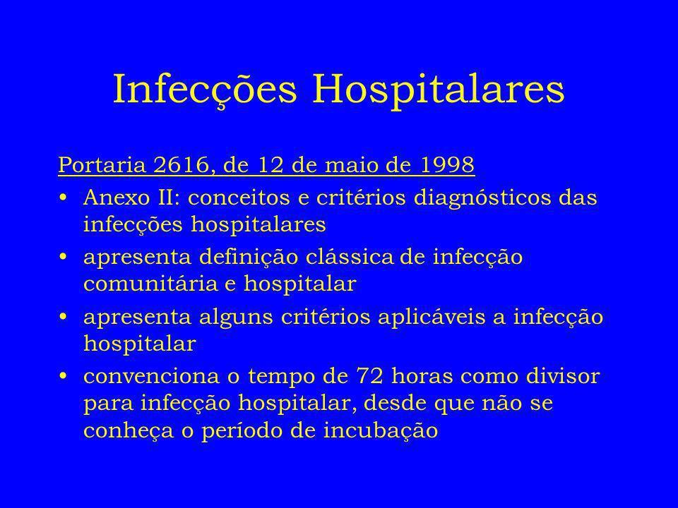 Infecções Hospitalares Portaria 2616, de 12 de maio de 1998 Anexo II: conceitos e critérios diagnósticos das infecções hospitalares apresenta definiçã