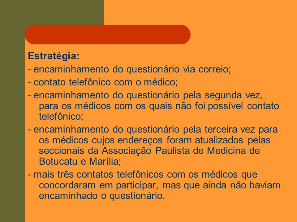 Estratégia: - encaminhamento do questionário via correio; - contato telefônico com o médico; - encaminhamento do questionário pela segunda vez, para o