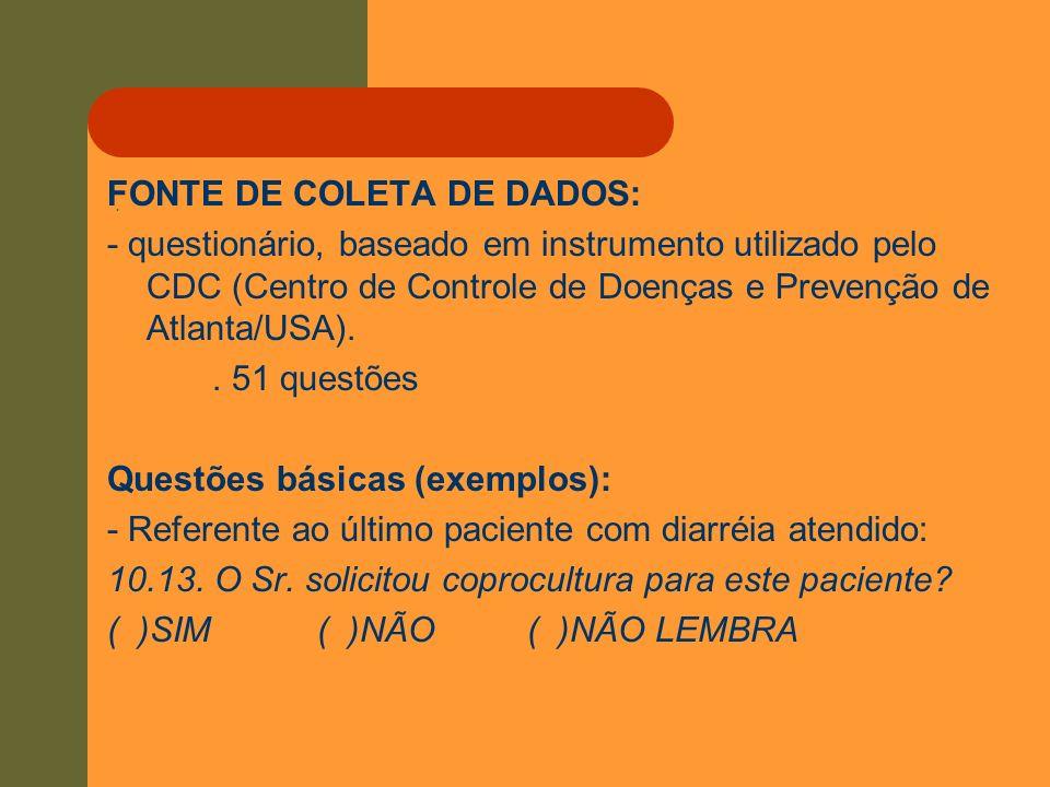 . FONTE DE COLETA DE DADOS: - questionário, baseado em instrumento utilizado pelo CDC (Centro de Controle de Doenças e Prevenção de Atlanta/USA).. 51