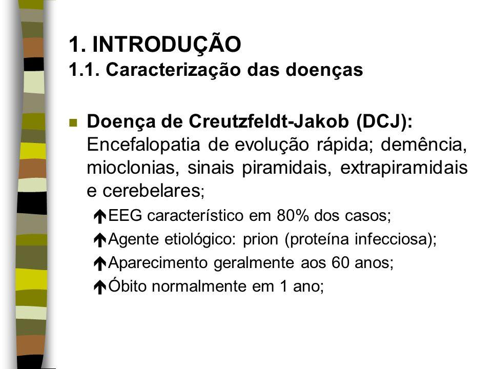 1. INTRODUÇÃO 1.1. Caracterização das doenças n Doença de Creutzfeldt-Jakob (DCJ): Encefalopatia de evolução rápida; demência, mioclonias, sinais pira