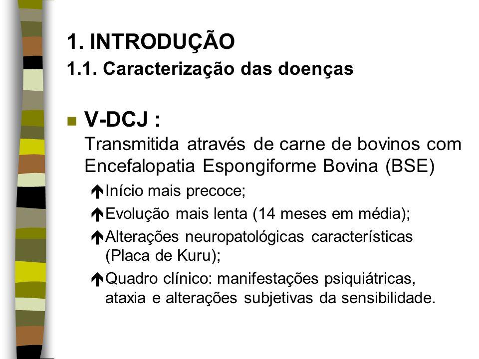 1. INTRODUÇÃO 1.1. Caracterização das doenças n V-DCJ : Transmitida através de carne de bovinos com Encefalopatia Espongiforme Bovina (BSE) éInício ma