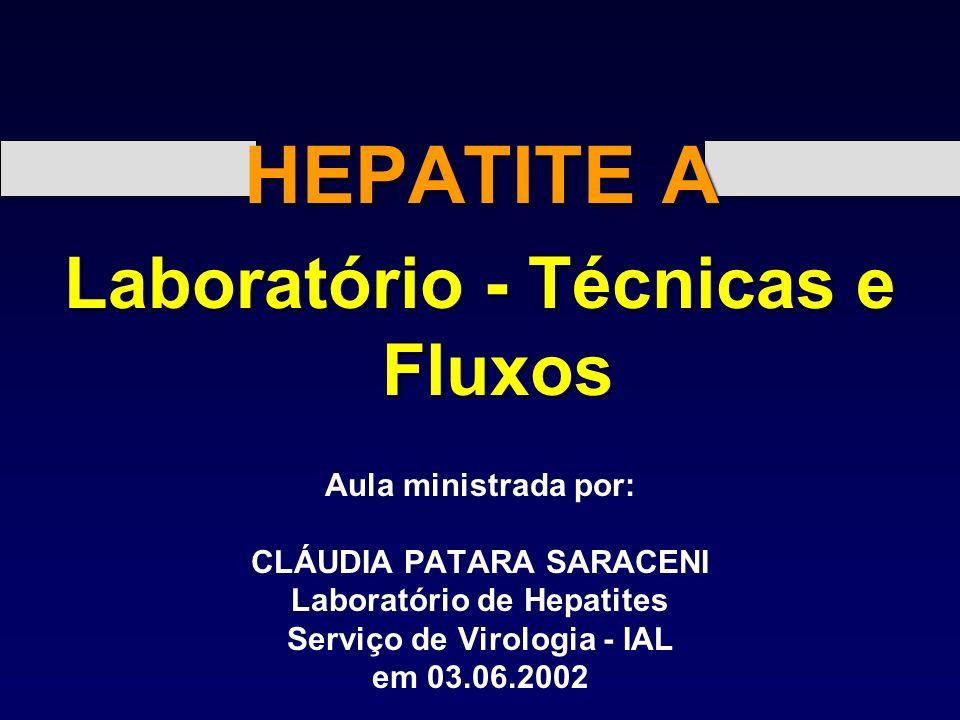 HEPATITE A Laboratório - Técnicas e Fluxos Aula ministrada por: CLÁUDIA PATARA SARACENI Laboratório de Hepatites Serviço de Virologia - IAL em 03.06.2002