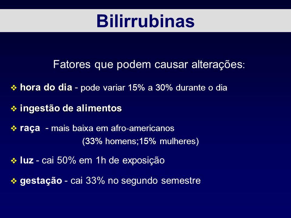 Bilirrubinas Fatores que podem causar alterações : hora do dia v hora do dia - pode variar 15% a 30% durante o dia ingestão de alimentos v ingestão de