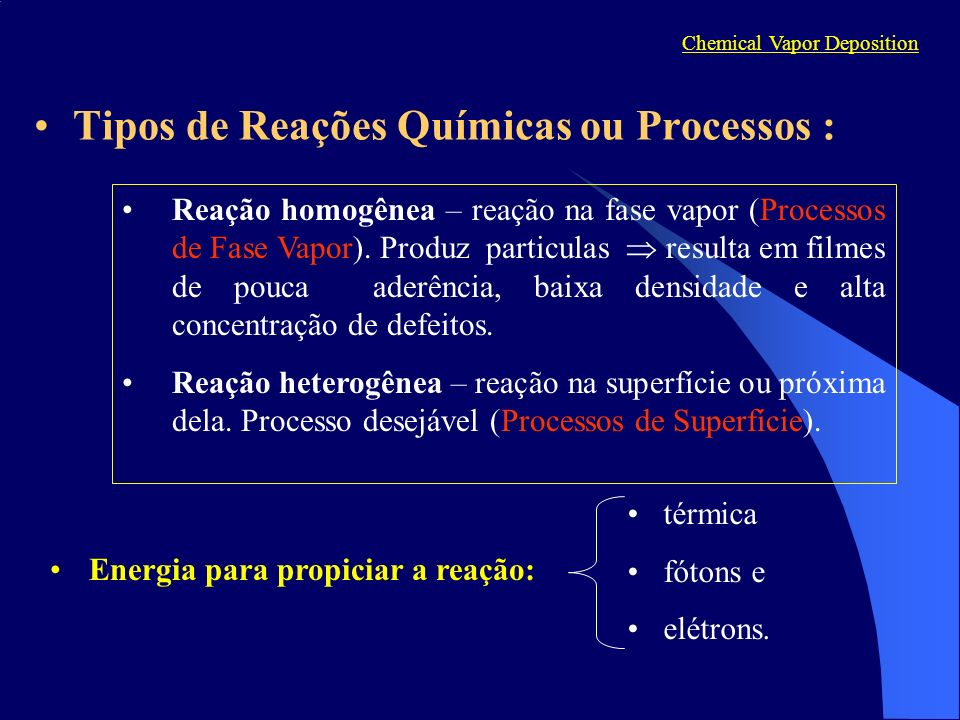 Tipos de Reações Químicas ou Processos : térmica fótons e elétrons. Reação homogênea – reação na fase vapor (Processos de Fase Vapor). Produz particul