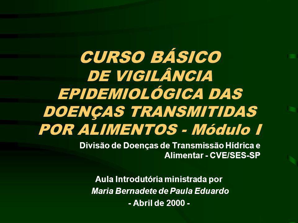 EPIDEMIOLOGIA DAS DOENÇAS TRANSMITIDAS POR ALIMENTOS PROGRAMA DE TREINAMENTO –BÁSICO MÓDULO I - DOENÇA E SISTEMAS DE VIGILÂNCIA EPIDEMIOLÓGICA (Abril) - CVE MÓDULO II - ALIMENTO - QUALIDADE E INOCUIDADE (Junho) - CVS MÓDULO III - LABORATÓRIO - MÉTODOS DE DETECÇÃO DE PATÓGENOS EM DTA (Outubro) - IAL –AVANÇADO (Curso de Especialização - maio a novembro 2000) Tipos de Estudos Epidemiológicos para a Investigação das DTAs e a Vigilância Ativa Métodos de Biologia Molecular para detecção de patógenos Qualidade e Inocuidade