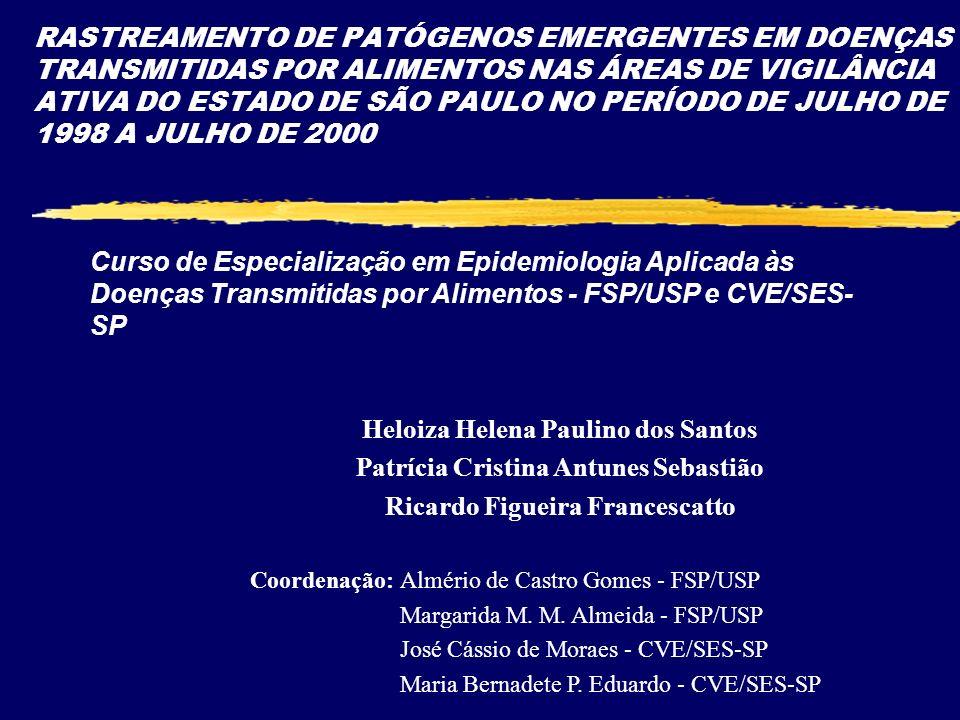 RASTREAMENTO DE PATÓGENOS EMERGENTES EM DOENÇAS TRANSMITIDAS POR ALIMENTOS NAS ÁREAS DE VIGILÂNCIA ATIVA DO ESTADO DE SÃO PAULO NO PERÍODO DE JULHO DE