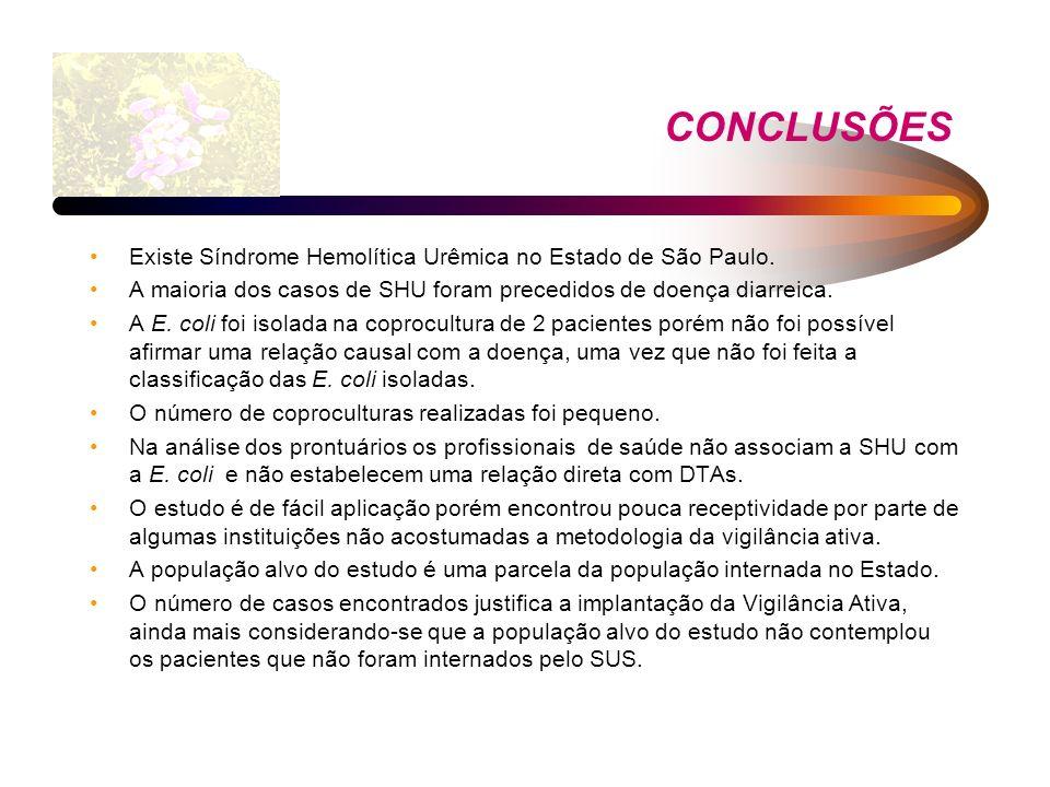 CONCLUSÕES Existe Síndrome Hemolítica Urêmica no Estado de São Paulo. A maioria dos casos de SHU foram precedidos de doença diarreica. A E. coli foi i