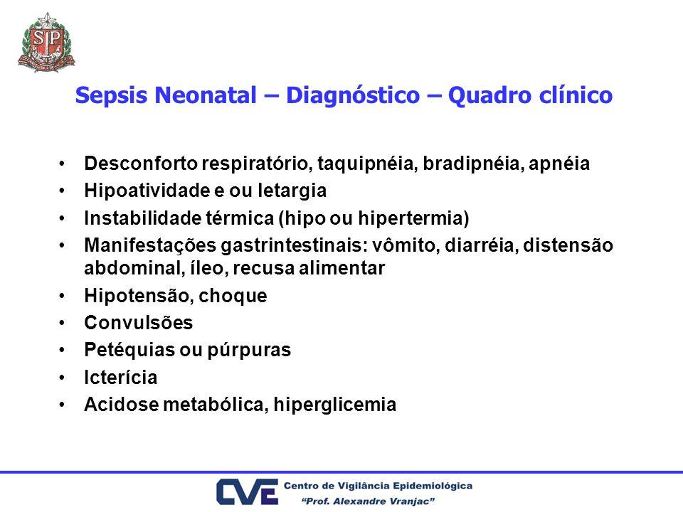 Sepsis Neonatal – Diagnóstico – Quadro clínico Desconforto respiratório, taquipnéia, bradipnéia, apnéia Hipoatividade e ou letargia Instabilidade térm