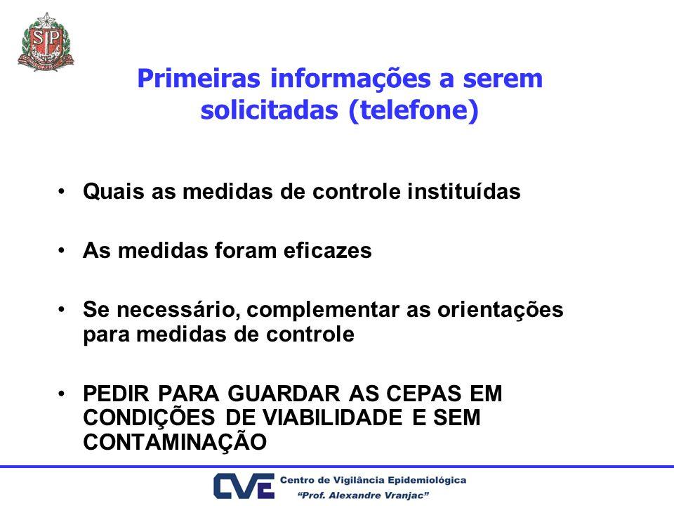 Primeiras informações a serem solicitadas (telefone) Quais as medidas de controle instituídas As medidas foram eficazes Se necessário, complementar as