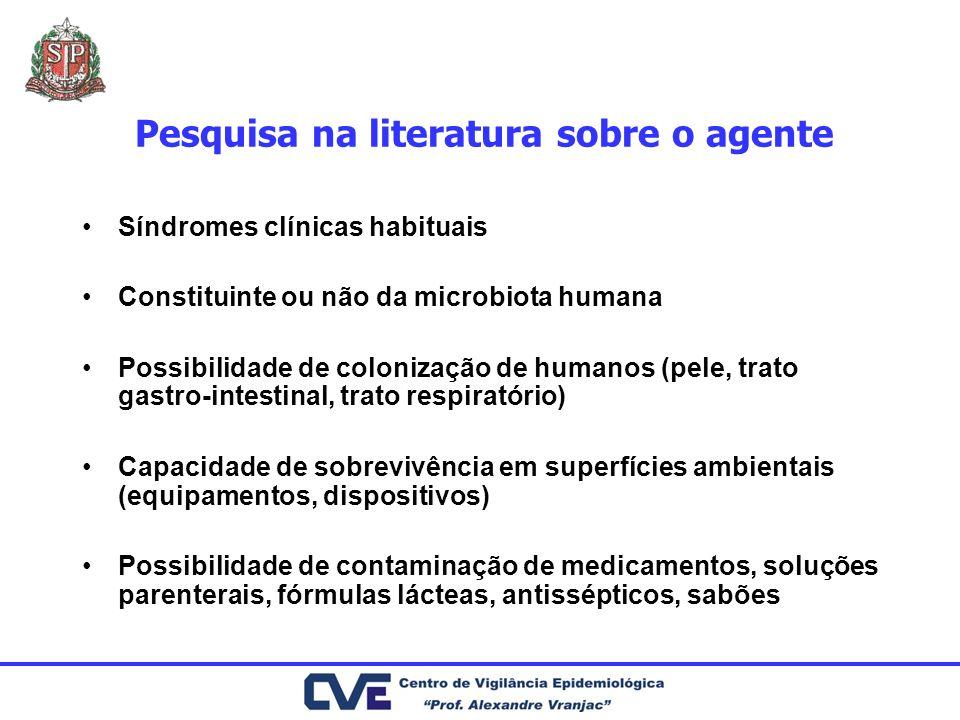 Pesquisa na literatura sobre o agente Síndromes clínicas habituais Constituinte ou não da microbiota humana Possibilidade de colonização de humanos (p