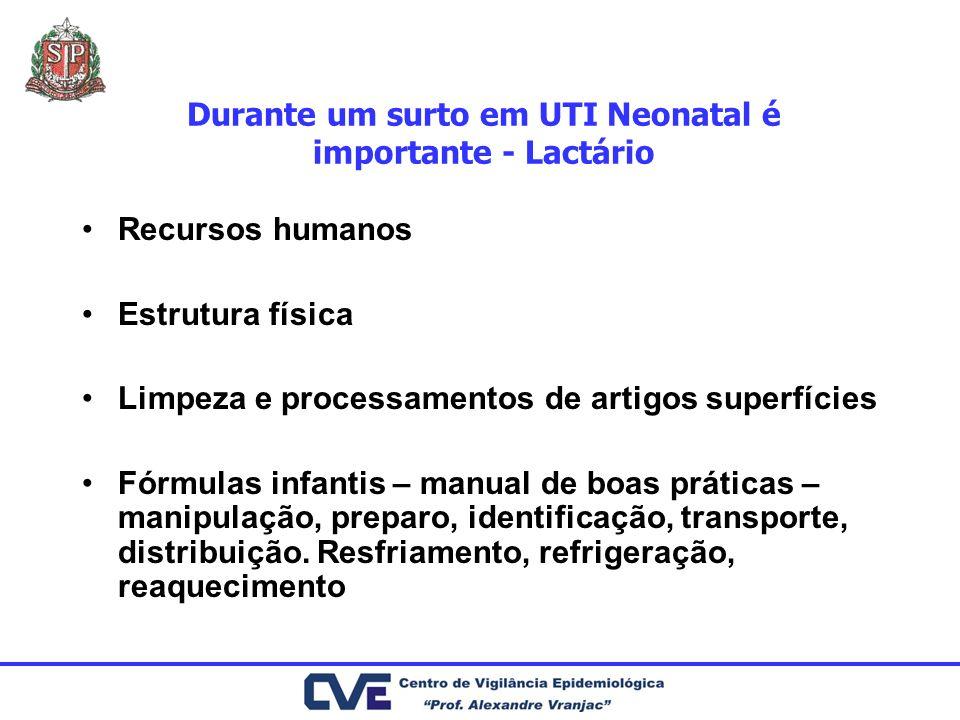 Durante um surto em UTI Neonatal é importante - Lactário Recursos humanos Estrutura física Limpeza e processamentos de artigos superfícies Fórmulas in