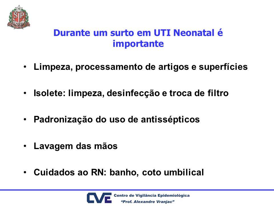 Durante um surto em UTI Neonatal é importante Limpeza, processamento de artigos e superfícies Isolete: limpeza, desinfecção e troca de filtro Padroniz