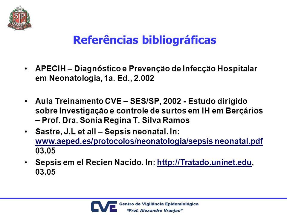 Referências bibliográficas APECIH – Diagnóstico e Prevenção de Infecção Hospitalar em Neonatologia, 1a. Ed., 2.002 Aula Treinamento CVE – SES/SP, 2002