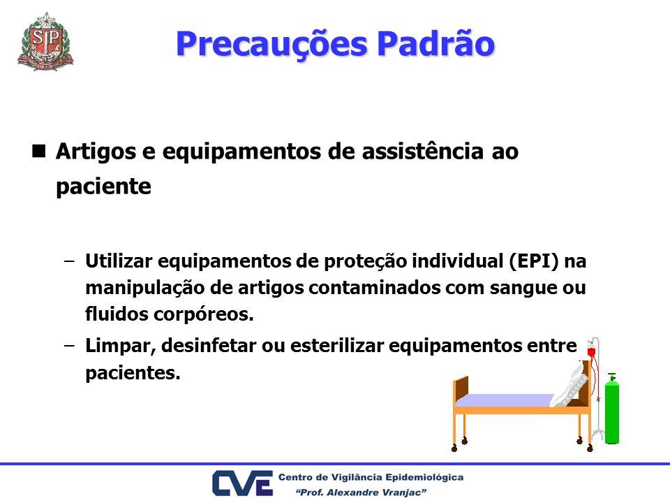 Artigos e equipamentos de assistência ao paciente –Utilizar equipamentos de proteção individual (EPI) na manipulação de artigos contaminados com sangue ou fluidos corpóreos.