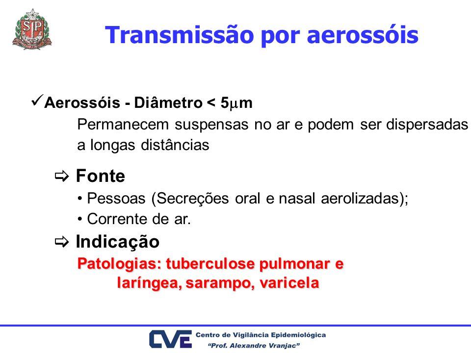 Aerossóis - Diâmetro < 5 m Permanecem suspensas no ar e podem ser dispersadas a longas distâncias Fonte Pessoas (Secreções oral e nasal aerolizadas);
