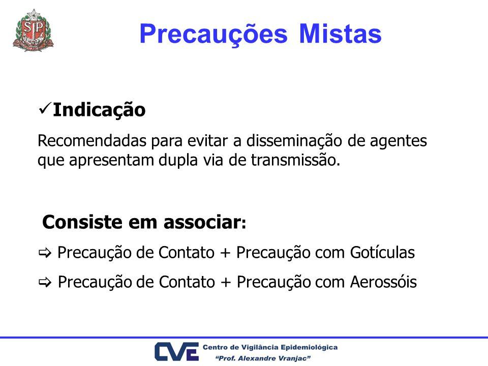 Indicação Recomendadas para evitar a disseminação de agentes que apresentam dupla via de transmissão. Consiste em associar : Precaução de Contato + Pr