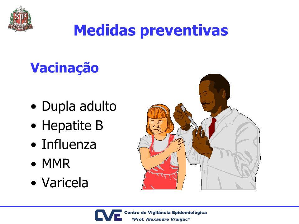 Medidas preventivas Vacinação Dupla adulto Hepatite B Influenza MMR Varicela