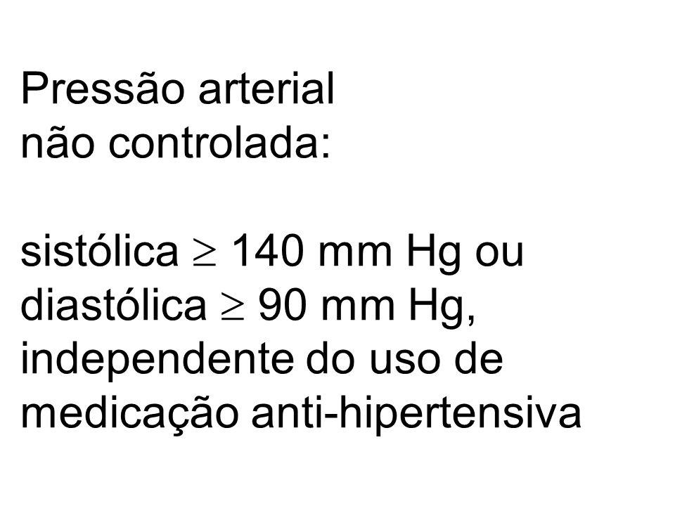Pressão arterial não controlada: sistólica 140 mm Hg ou diastólica 90 mm Hg, independente do uso de medicação anti-hipertensiva