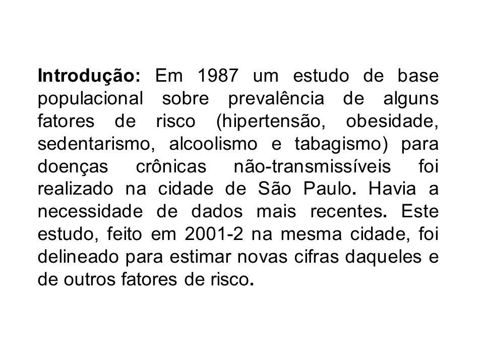 Introdução: Em 1987 um estudo de base populacional sobre prevalência de alguns fatores de risco (hipertensão, obesidade, sedentarismo, alcoolismo e tabagismo) para doenças crônicas não-transmissíveis foi realizado na cidade de São Paulo.