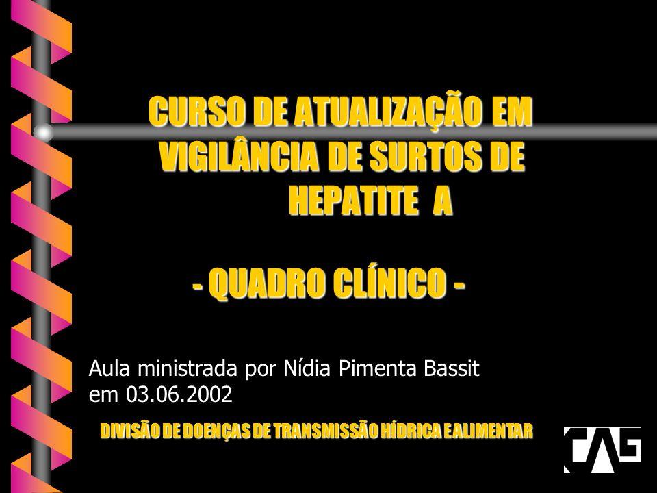CURSO DE ATUALIZAÇÃO EM VIGILÂNCIA DE SURTOS DE HEPATITE A - QUADRO CLÍNICO - CURSO DE ATUALIZAÇÃO EM VIGILÂNCIA DE SURTOS DE HEPATITE A - QUADRO CLÍNICO - DIVISÃO DE DOENÇAS DE TRANSMISSÃO HÍDRICA E ALIMENTAR Aula ministrada por Nídia Pimenta Bassit em 03.06.2002