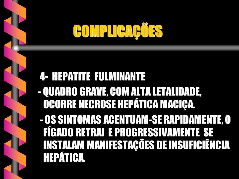 COMPLICAÇÕES COMPLICAÇÕES 1- HEPATITE AGUDA BENIGNA PROLONGADA EVOLUÇÃO CLÍNICA E LABORATORIAL SE EXTENDE POR PERÍODO SUPERIOR A 6 MESES. EVOLUÇÃO CLÍ