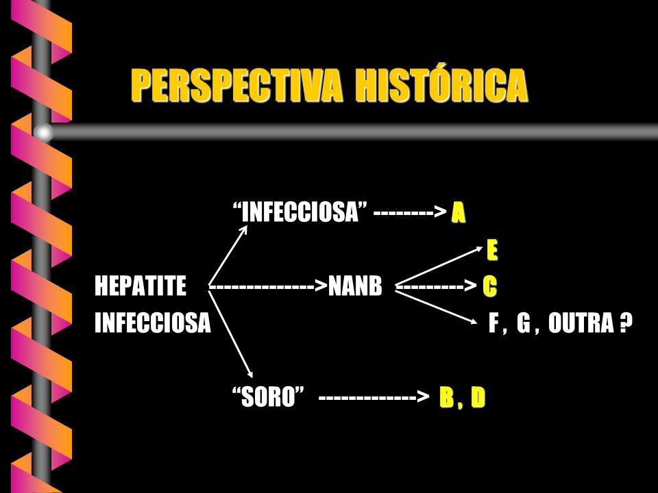 PERSPECTIVA HISTÓRICA PERSPECTIVA HISTÓRICA INFECCIOSA --------> A INFECCIOSA --------> A E HEPATITE -------------->NANB ---------> C INFECCIOSA F, G, OUTRA .
