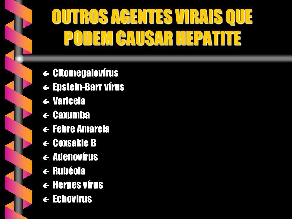 OUTROS AGENTES VIRAIS QUE PODEM CAUSAR HEPATITE OUTROS AGENTES VIRAIS QUE PODEM CAUSAR HEPATITE ç Citomegalovírus ç Epstein-Barr vírus ç Varicela ç Caxumba ç Febre Amarela ç Coxsakie B ç Adenovírus ç Rubéola ç Herpes vírus ç Echovirus