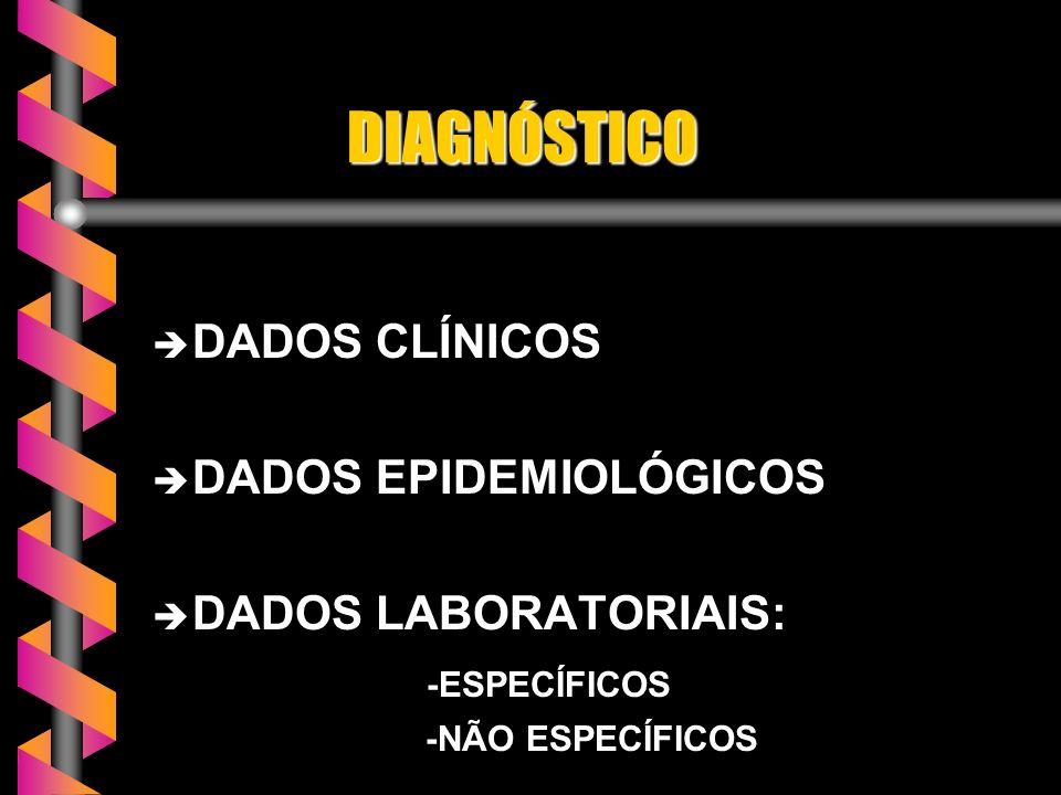 DIAGNÓSTICO DIAGNÓSTICO è DADOS CLÍNICOS è DADOS EPIDEMIOLÓGICOS è DADOS LABORATORIAIS: -ESPECÍFICOS -ESPECÍFICOS -NÃO ESPECÍFICOS -NÃO ESPECÍFICOS