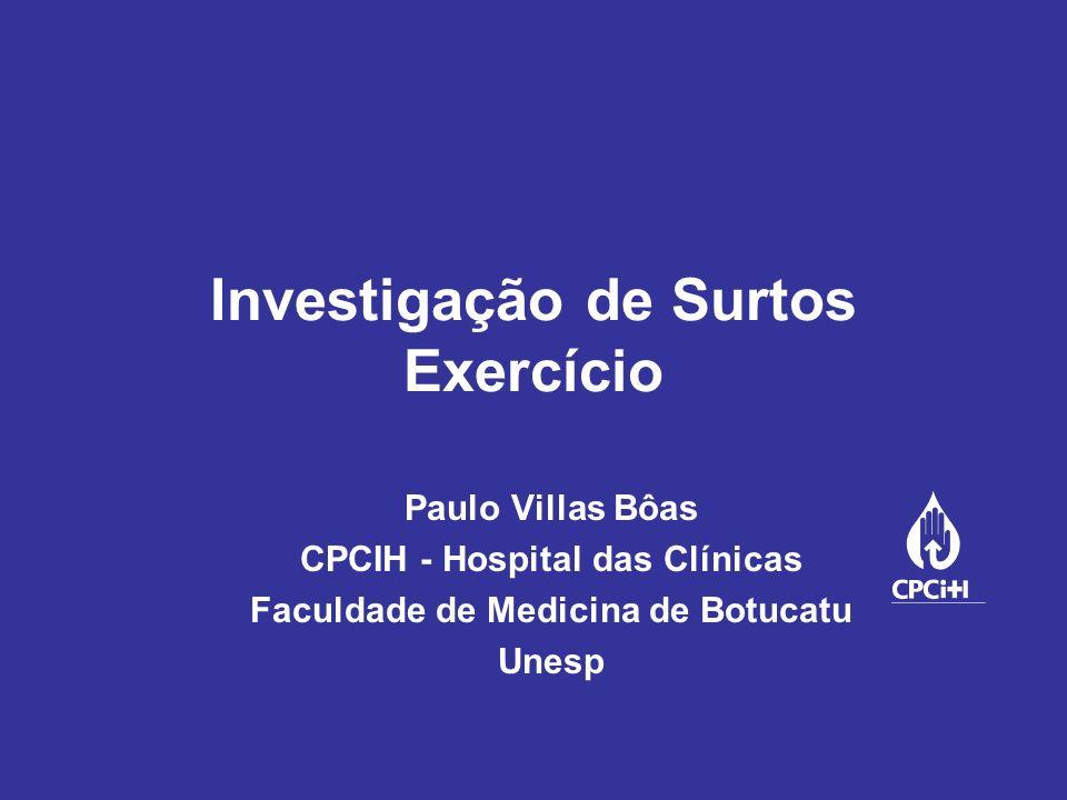 Investigação de Surtos Exercício Paulo Villas Bôas CPCIH - Hospital das Clínicas Faculdade de Medicina de Botucatu Unesp