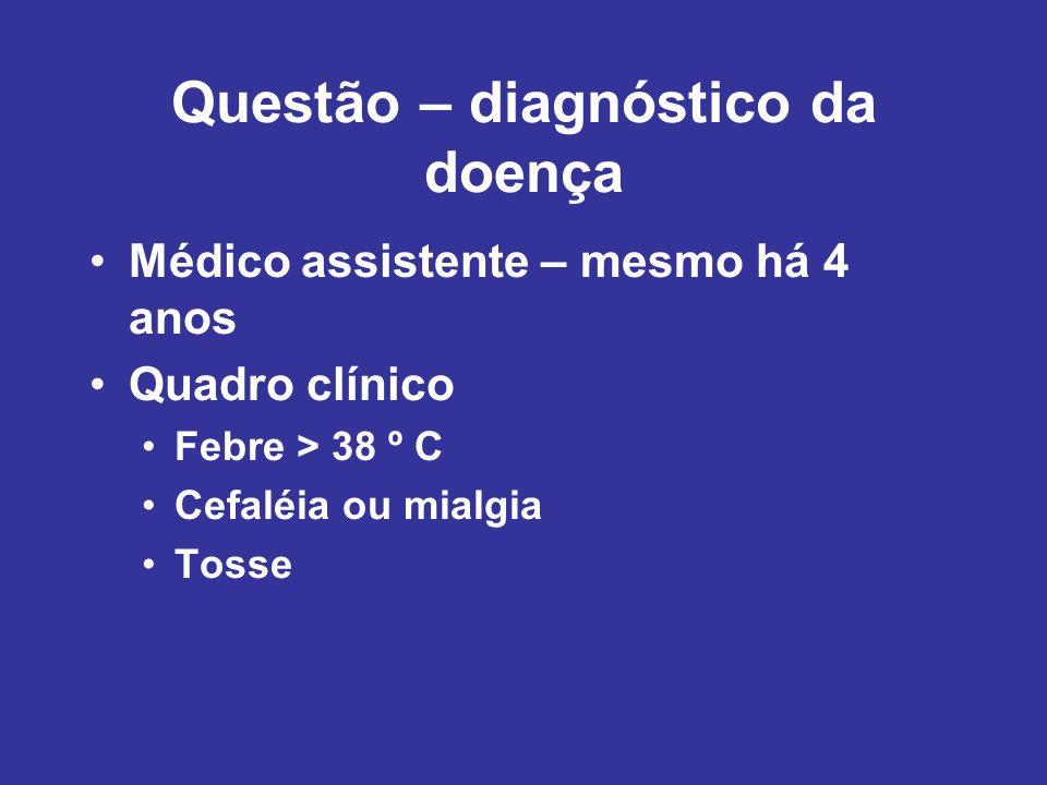 Questão – diagnóstico da doença Médico assistente – mesmo há 4 anos Quadro clínico Febre > 38 º C Cefaléia ou mialgia Tosse