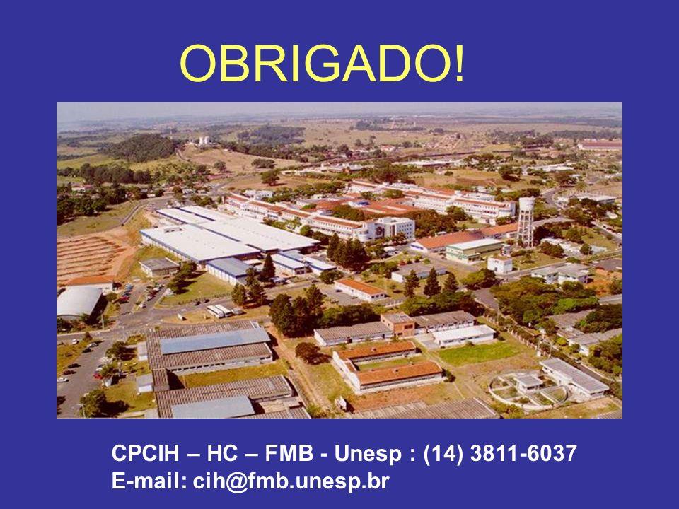 OBRIGADO! CPCIH – HC – FMB - Unesp : (14) 3811-6037 E-mail: cih@fmb.unesp.br