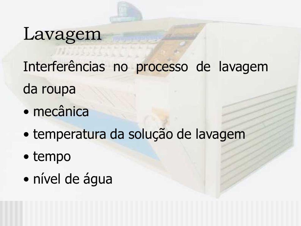 Lavagem Interferências no processo de lavagem da roupa mecânica temperatura da solução de lavagem tempo nível de água
