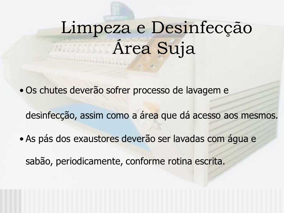 Limpeza e Desinfecção Área Suja Os chutes deverão sofrer processo de lavagem e desinfecção, assim como a área que dá acesso aos mesmos. As pás dos exa