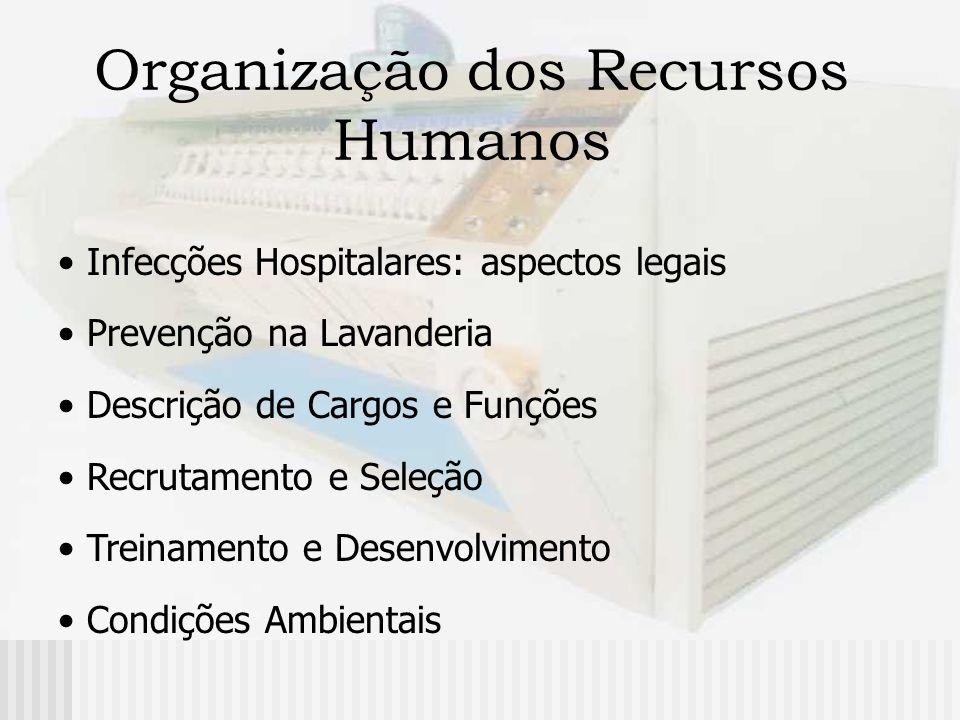 Organização dos Recursos Humanos Infecções Hospitalares: aspectos legais Prevenção na Lavanderia Descrição de Cargos e Funções Recrutamento e Seleção