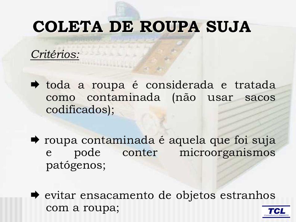 COLETA DE ROUPA SUJA Critérios: toda a roupa é considerada e tratada como contaminada (não usar sacos codificados); roupa contaminada é aquela que foi