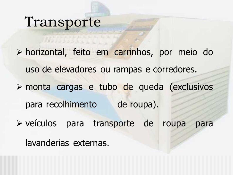 Transporte horizontal, feito em carrinhos, por meio do uso de elevadores ou rampas e corredores. monta cargas e tubo de queda (exclusivos para recolhi
