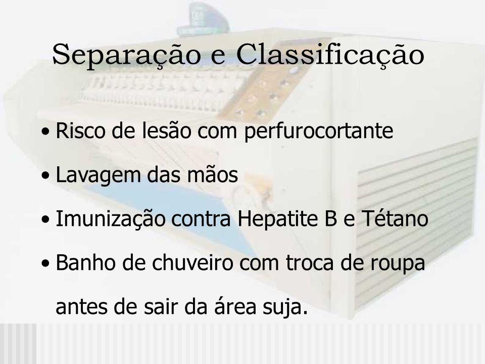 Separação e Classificação Uso de EPI: macacão de mangas compridas avental impermeável gorro, máscara, luvas de borracha botas de borracha óculos de proteção, etc...