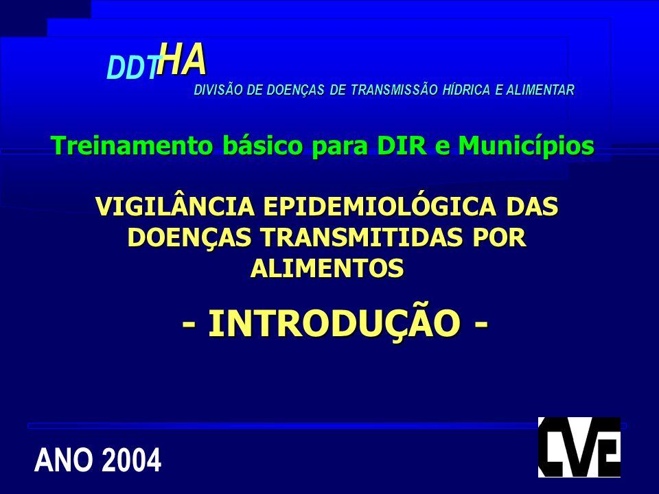 ANO 2004HA DDT DIVISÃO DE DOENÇAS DE TRANSMISSÃO HÍDRICA E ALIMENTAR VIGILÂNCIA EPIDEMIOLÓGICA DAS DOENÇAS TRANSMITIDAS POR ALIMENTOS Treinamento bási