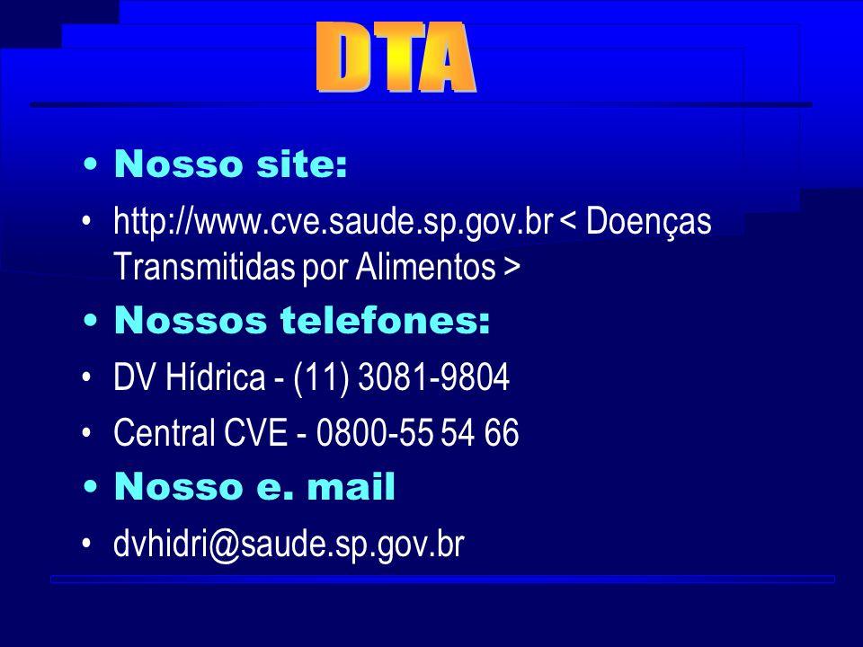Nosso site: http://www.cve.saude.sp.gov.br Nossos telefones: DV Hídrica - (11) 3081-9804 Central CVE - 0800-55 54 66 Nosso e. mail dvhidri@saude.sp.go