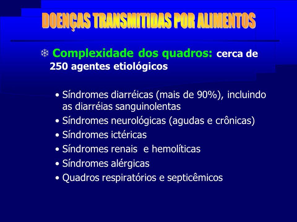 Complexidade dos quadros: cerca de 250 agentes etiológicos Síndromes diarréicas (mais de 90%), incluindo as diarréias sanguinolentas Síndromes neuroló