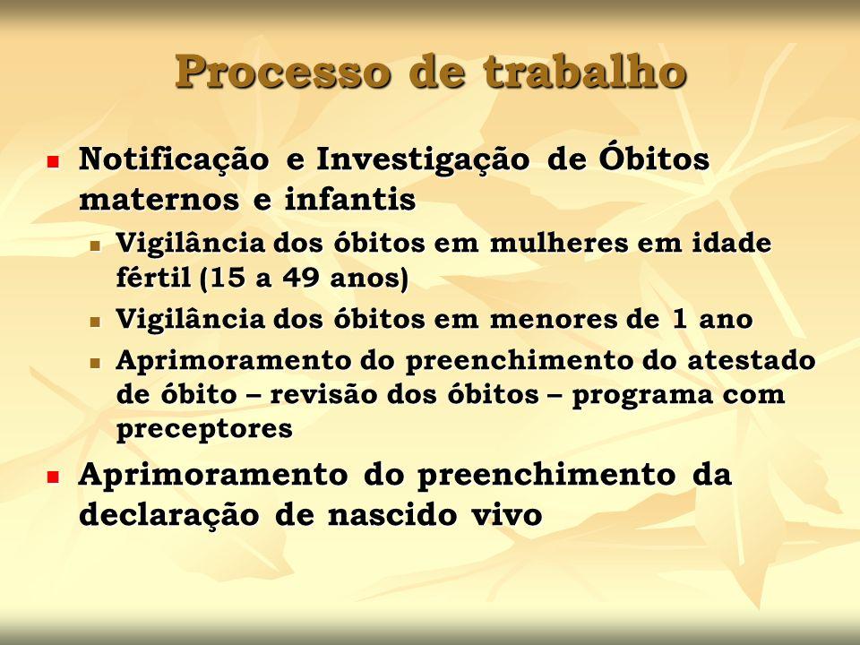 Processo de trabalho Notificação e Investigação de Óbitos maternos e infantis Notificação e Investigação de Óbitos maternos e infantis Vigilância dos