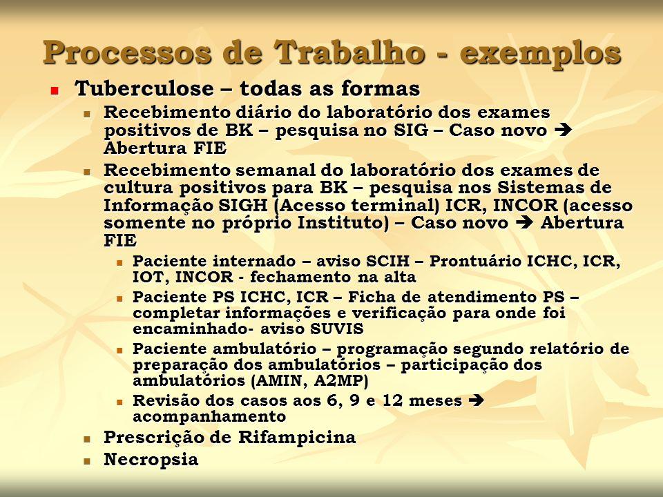 Processos de Trabalho - exemplos Tuberculose – todas as formas Tuberculose – todas as formas Recebimento diário do laboratório dos exames positivos de