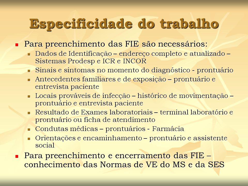 Especificidade do trabalho Para preenchimento das FIE são necessários: Para preenchimento das FIE são necessários: Dados de Identificação – endereço c
