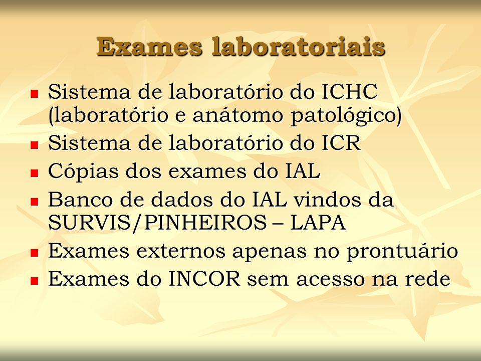 Exames laboratoriais Sistema de laboratório do ICHC (laboratório e anátomo patológico) Sistema de laboratório do ICHC (laboratório e anátomo patológic